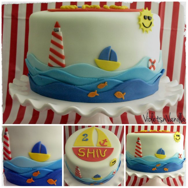 Nautical Birthday Cake Violets Vanilla
