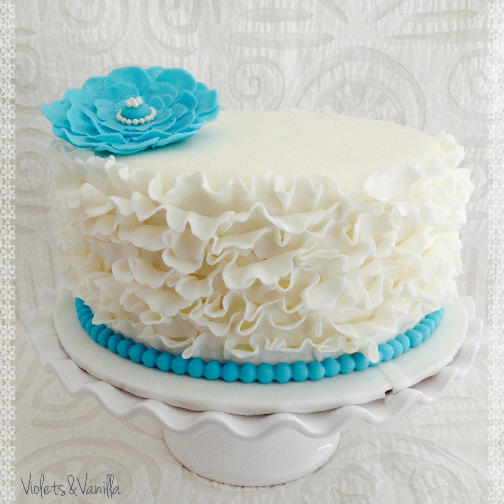 Blue And White Fondant Ruffle Cake Violets Vanilla