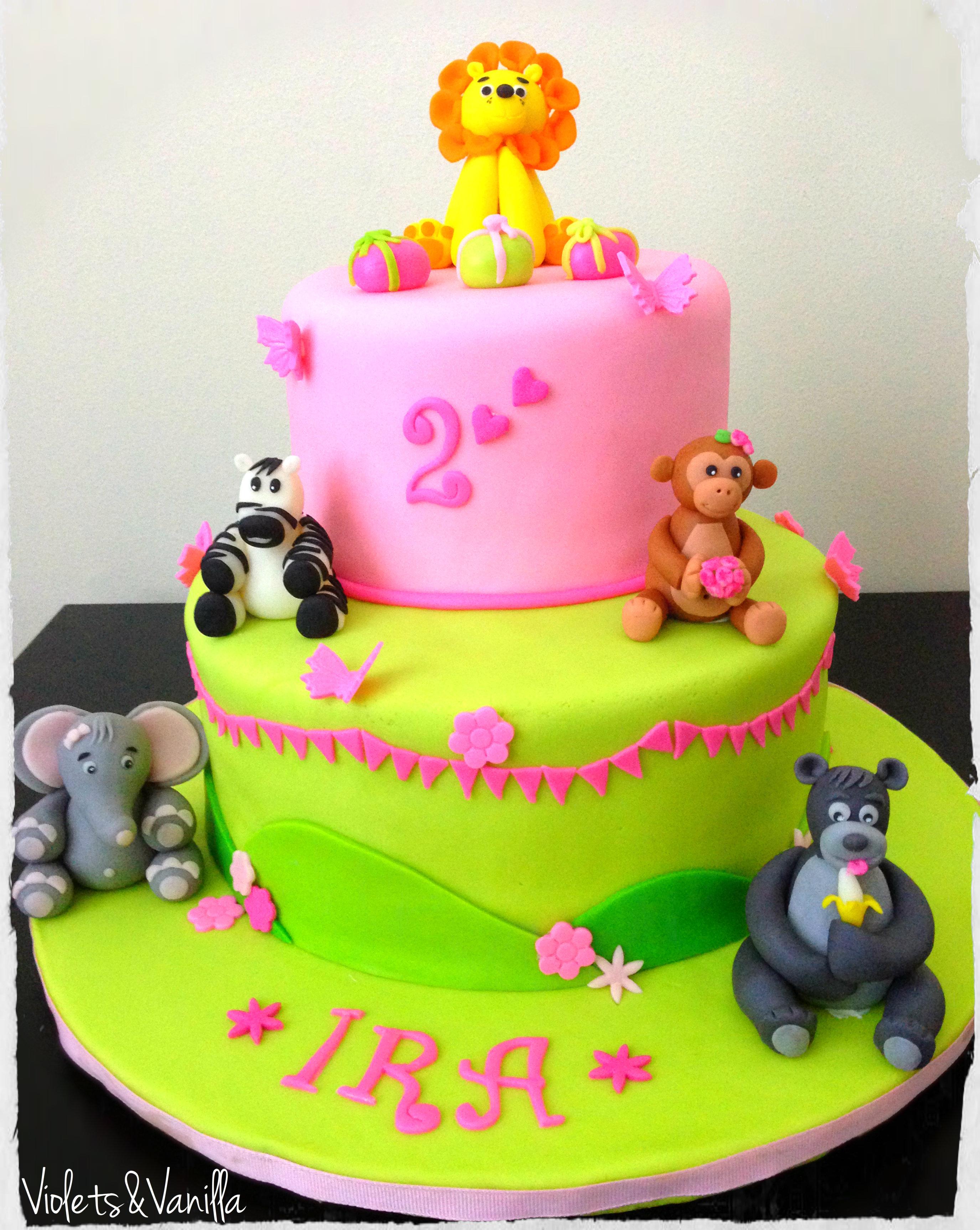 Pink and Green Jungle Animals Cake | Violets & Vanilla