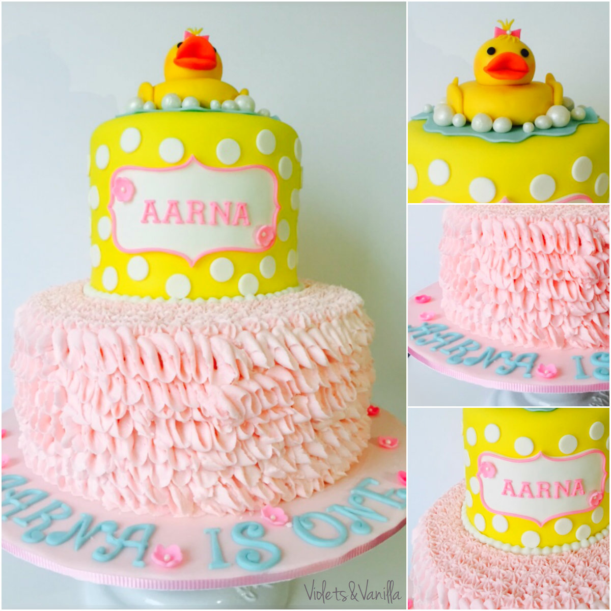 Pink and Yellow Rubber Ducky Cake Violets Vanilla